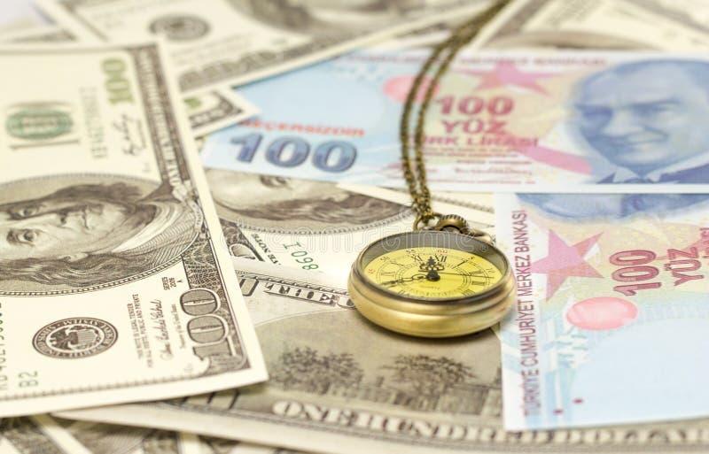 Rocznika kieszeniowy zegarek z dolarowym i tureckim lirem fotografia stock