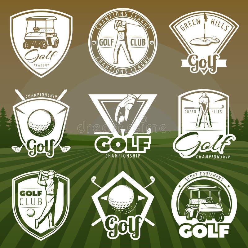 Rocznika kija golfowego logowie ilustracji