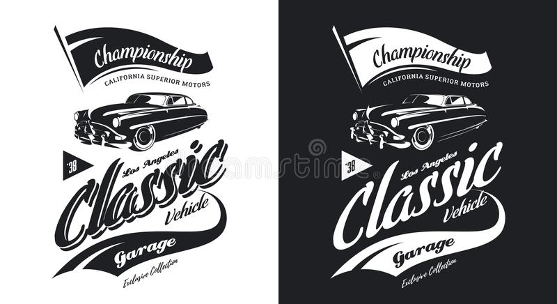 Rocznika klasycznego pojazdu czarny i biały odosobniony wektorowy logo ilustracji
