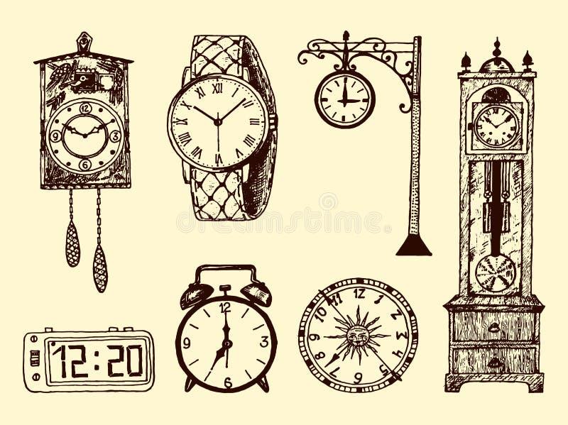 Rocznika klasyczny kieszeniowy zegarek, budzik, hourglass i tarcza pokazuje czas, Antyczni inkasowi elementy grawerująca ręka ilustracja wektor