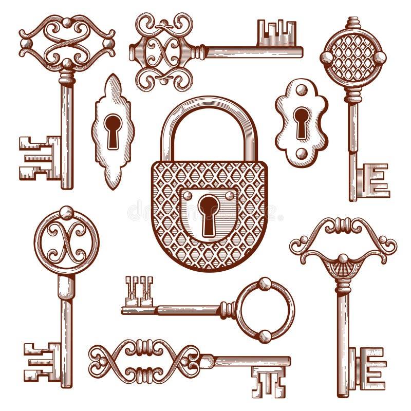 Rocznika klucze, kędziorki i kłódki, wręczają patroszoną wektorową ilustrację ilustracji