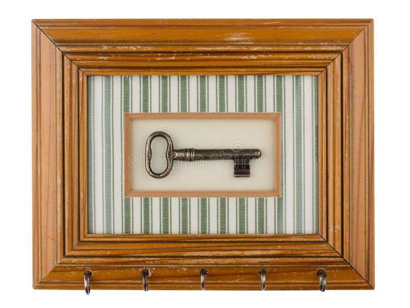 Rocznika kluczowy właściciel z drewnianą ramą obrazy royalty free