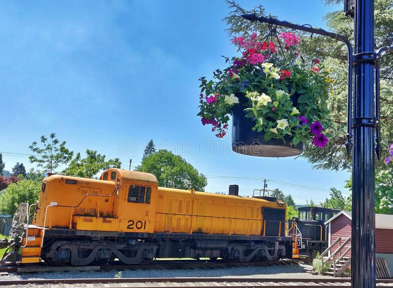 Rocznika Kolejowy silnik przy Snoqualmie, Waszyngton obrazy stock