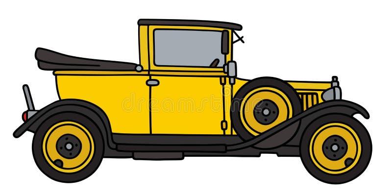 Rocznika kolor żółty samochód royalty ilustracja
