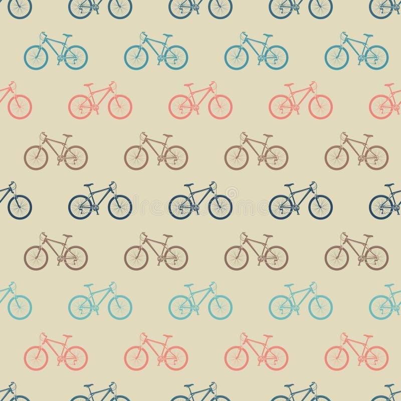 Rocznika kolorowy rowerowy bezszwowy wzór ilustracja wektor
