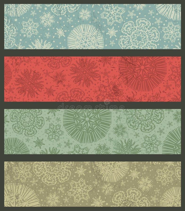Rocznika koloru bożych narodzeń sztandary, wektor ilustracji