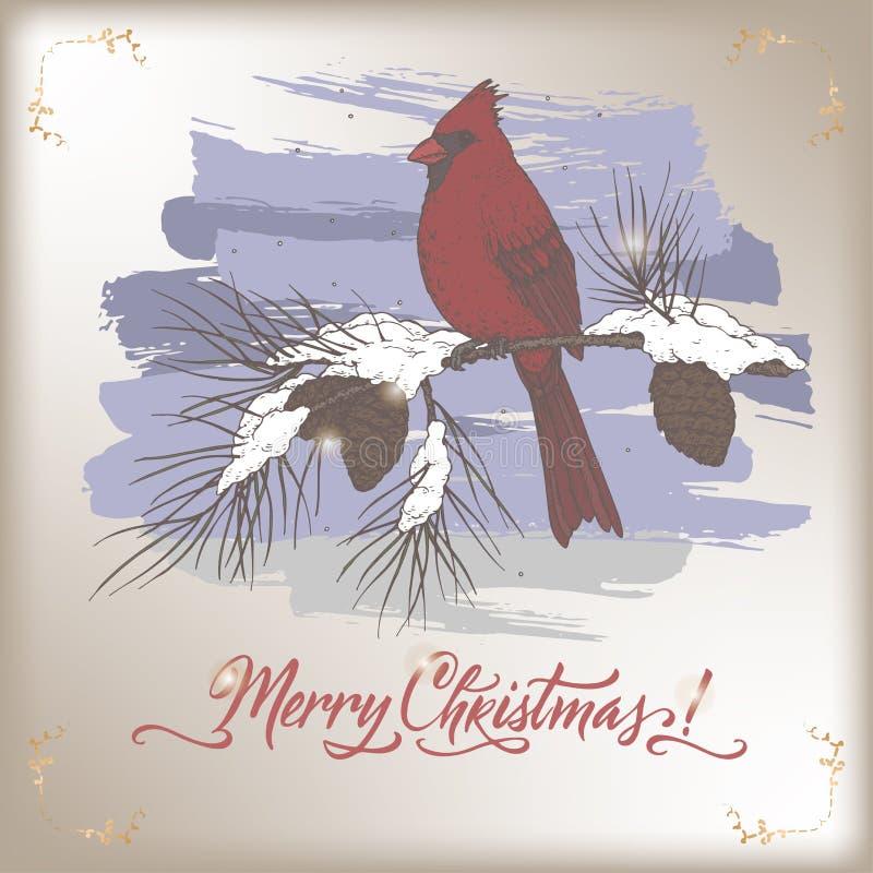 Rocznika koloru kartka bożonarodzeniowa z głównym ptakiem na skrzynce pocztowa, sosny gałąź i wakacje szczotkarskim literowaniu, ilustracja wektor