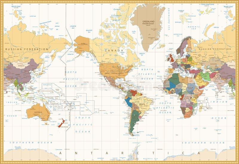 Rocznika koloru mapy Ameryka Centrowana Polityczna Światowa mapa royalty ilustracja