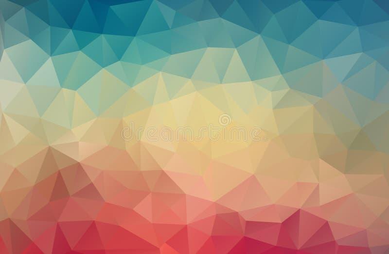 Rocznika koloru trójboka geometryczna tapeta ilustracja wektor