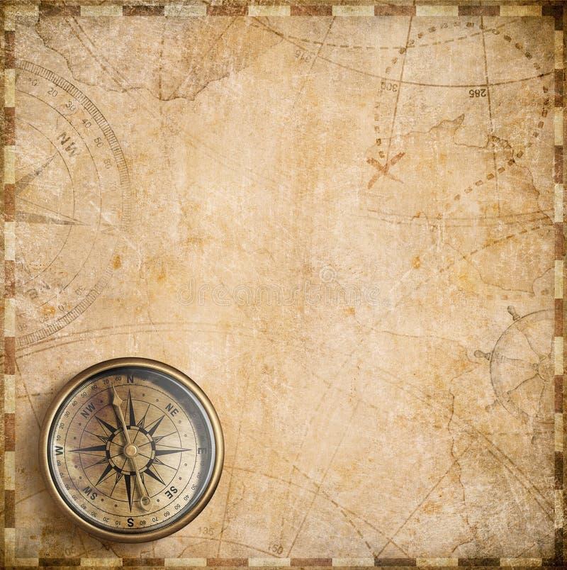 Rocznika kompas i nautyczna mapa royalty ilustracja