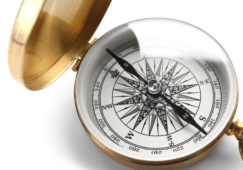 Rocznika kompas na białym tle, zbliżenie obrazy royalty free