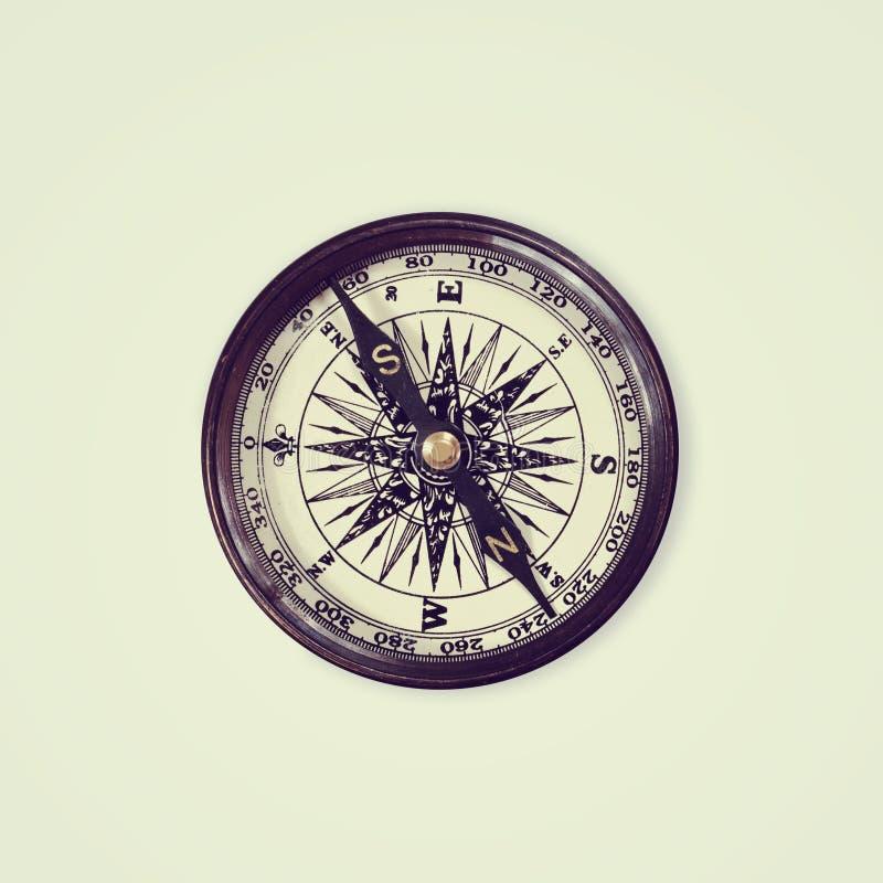 Rocznika kompas odizolowywający na białym tle, obrazy stock