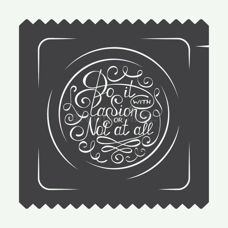 Rocznika kondoma etykietki, logo lub odznaka z ręka rysującym typografia projekta elementem, Robi mię z pasją w okręgu lub wcale royalty ilustracja