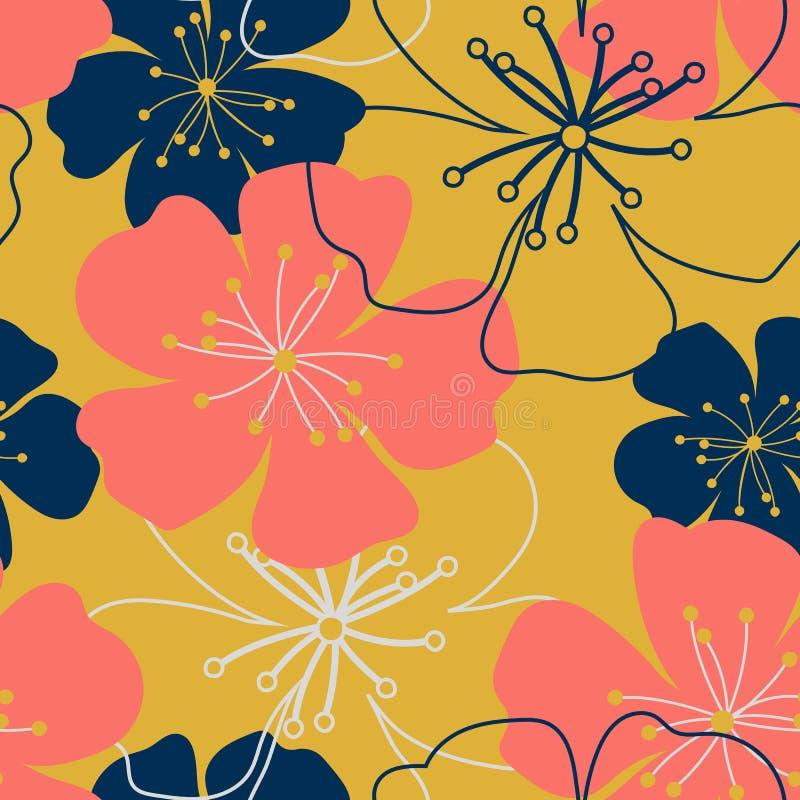 Rocznika koral, zmrok - błękitny, złoci kwiaty Podławi modni purpurowi millefleurs Tapetowy prosty śliczny bezszwowy wzór ilustracja wektor