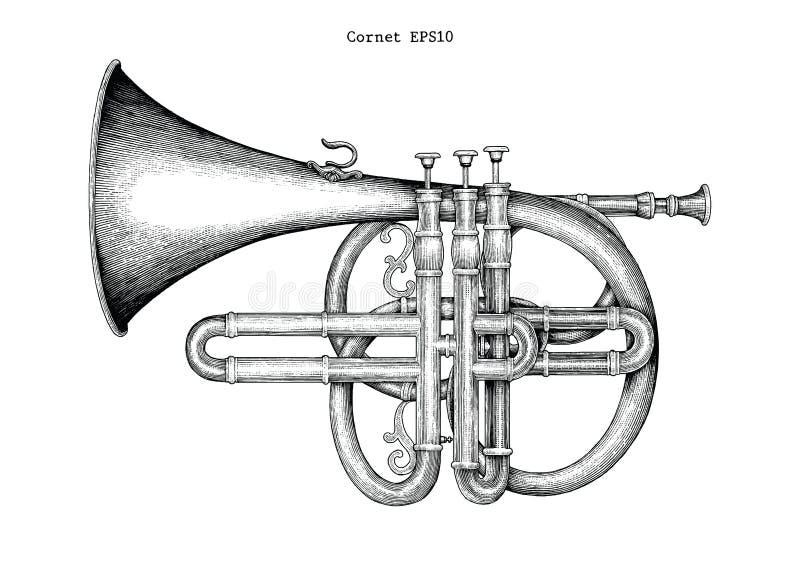 Rocznika kornetu ręki rytownictwa rysunkowa ilustracja klasyczny ilustracji