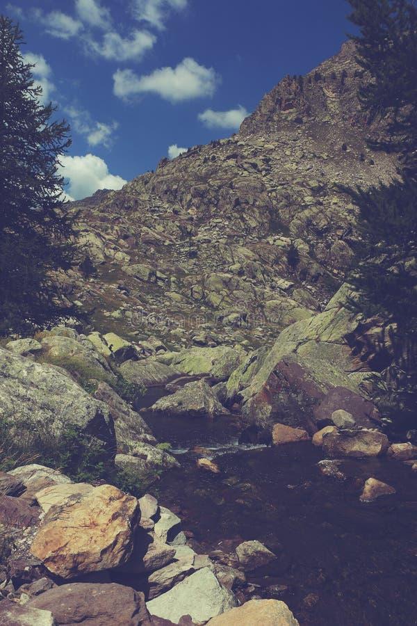 Rocznika krajobraz skalisty strumień fotografia royalty free