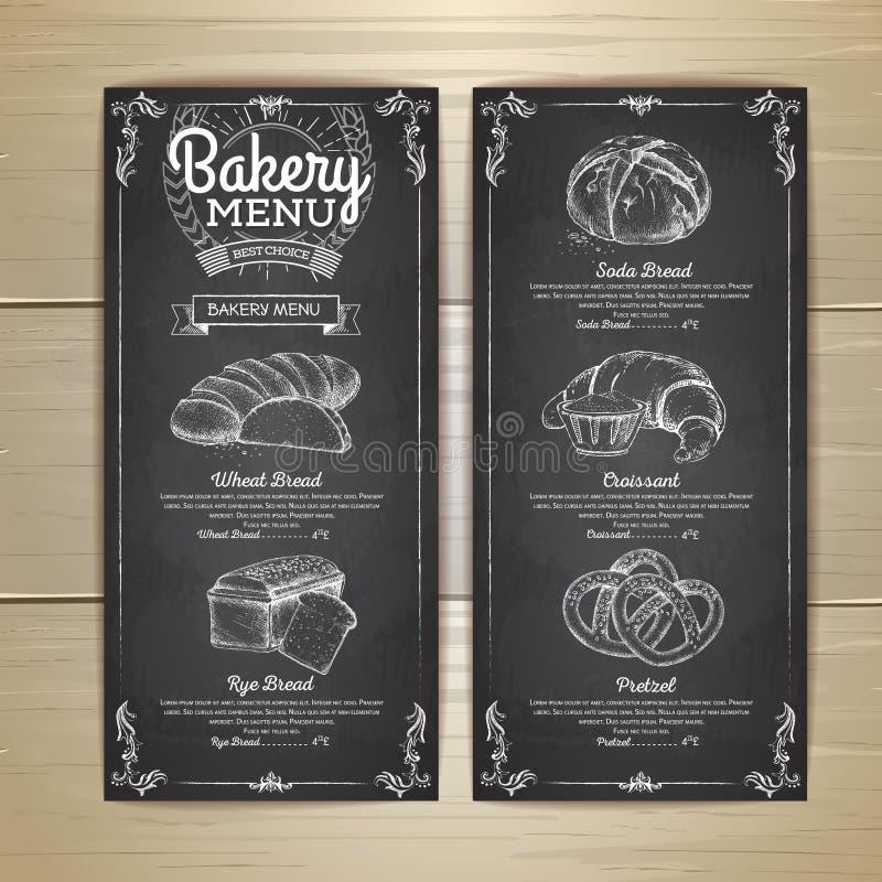 Rocznika kredowego rysunku piekarni menu projekt ilustracja wektor