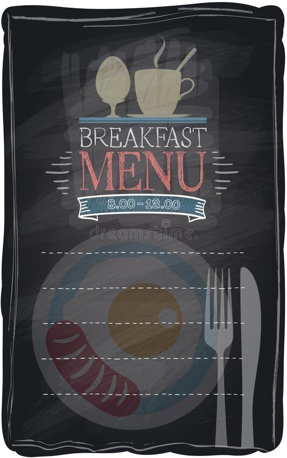 Rocznika kredowy śniadaniowy menu. ilustracji