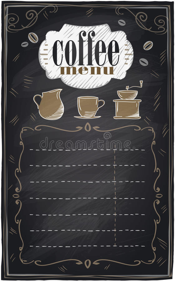 Rocznika kredowy kawowy menu. ilustracja wektor