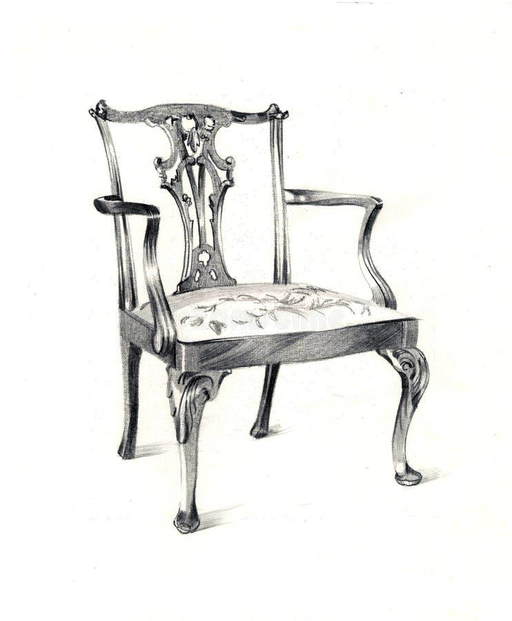 Rocznika krzesło, graficzny projekt ilustracja wektor