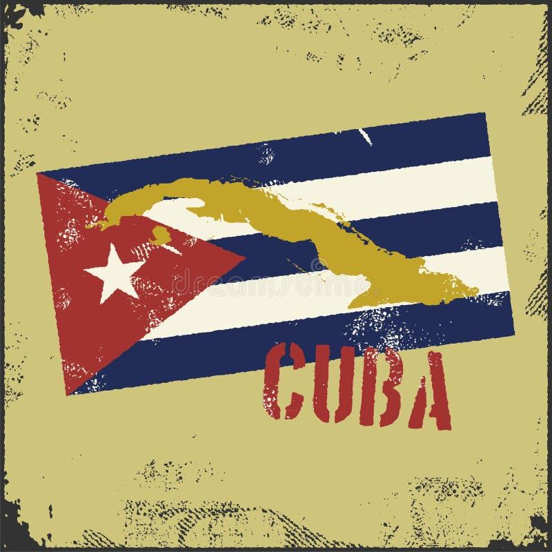 Rocznika Kuba stylowa mapa dostępne Cuba flagi okulary stylu wektora ilustracji