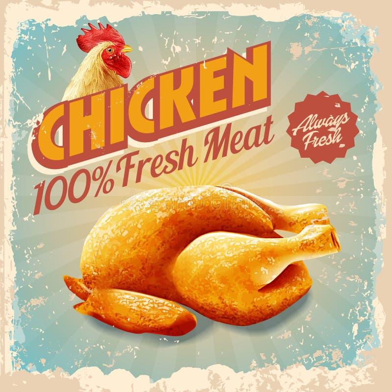 Rocznika kurczak ilustracja wektor
