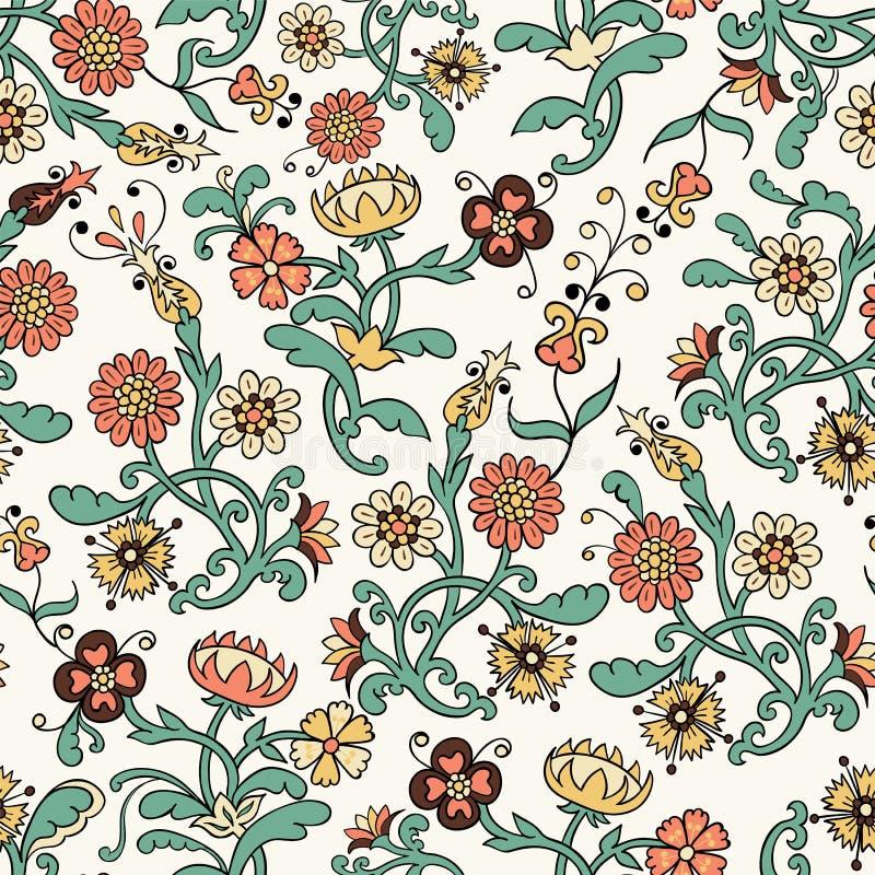 Rocznika kwiatu bezszwowy wzór royalty ilustracja