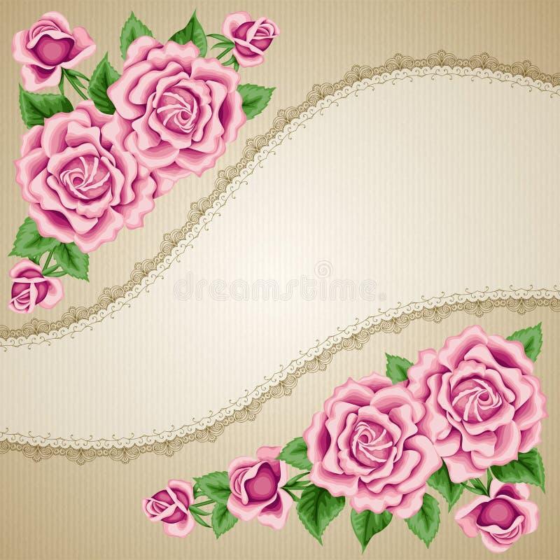Rocznika kwiatu karta z różami ilustracji