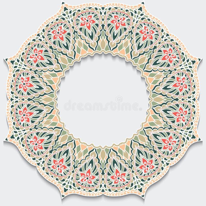 Rocznika kwiatu ramy mandala z cieniem Delikatni pastelowi kolory Elementów ornamenty dla projektów zaproszeń i kart Motywy lub ilustracja wektor