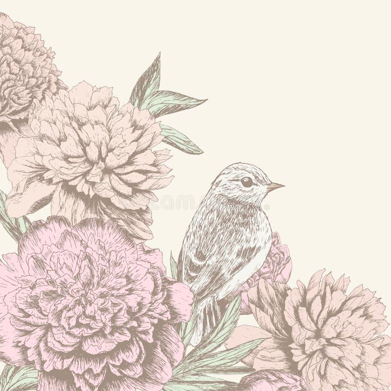 Rocznika kwiatu tło z ptakiem ilustracji
