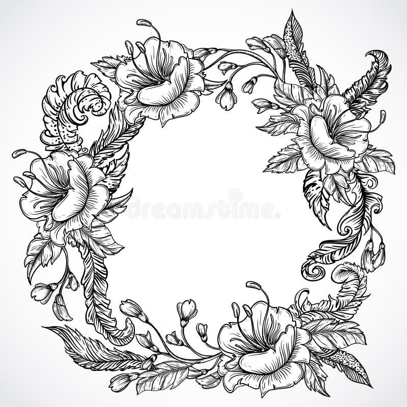 Rocznika kwiecista wysoce szczegółowa ręka rysujący wianek kwiaty i piórka Retro sztandar, zaproszenie, ślubna karta, złomowa rez ilustracji
