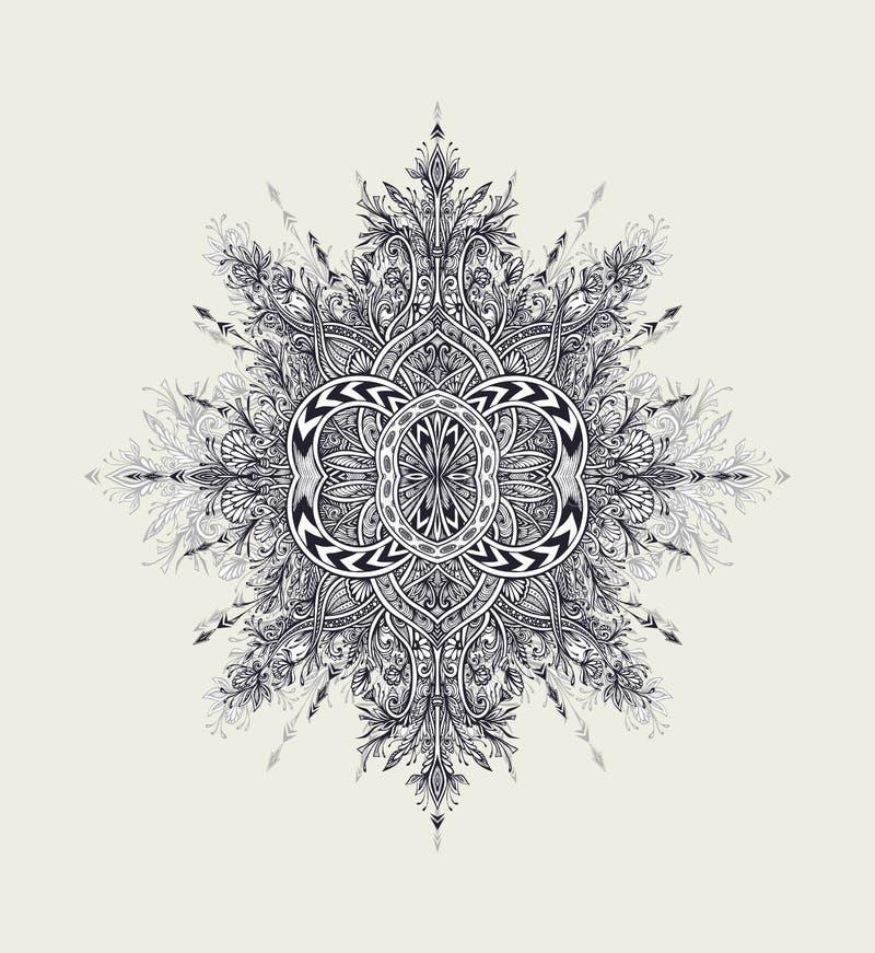 Rocznika kwiecistego ornamentu mandala Abstrakcjonistyczny czerń na bielu ilustracja wektor