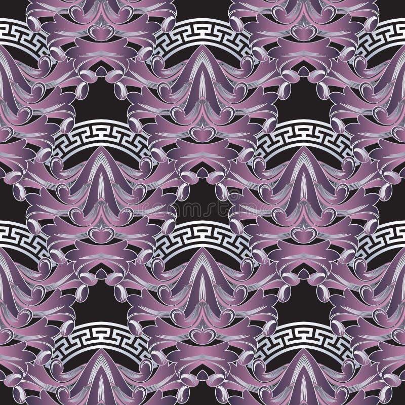 Rocznika kwiecisty 3d grecki wektorowy bezszwowy wzór Barokowy ornamentacyjny tło Eleganccy piękni kafelkowi fiołkowi kwiaty, liś royalty ilustracja