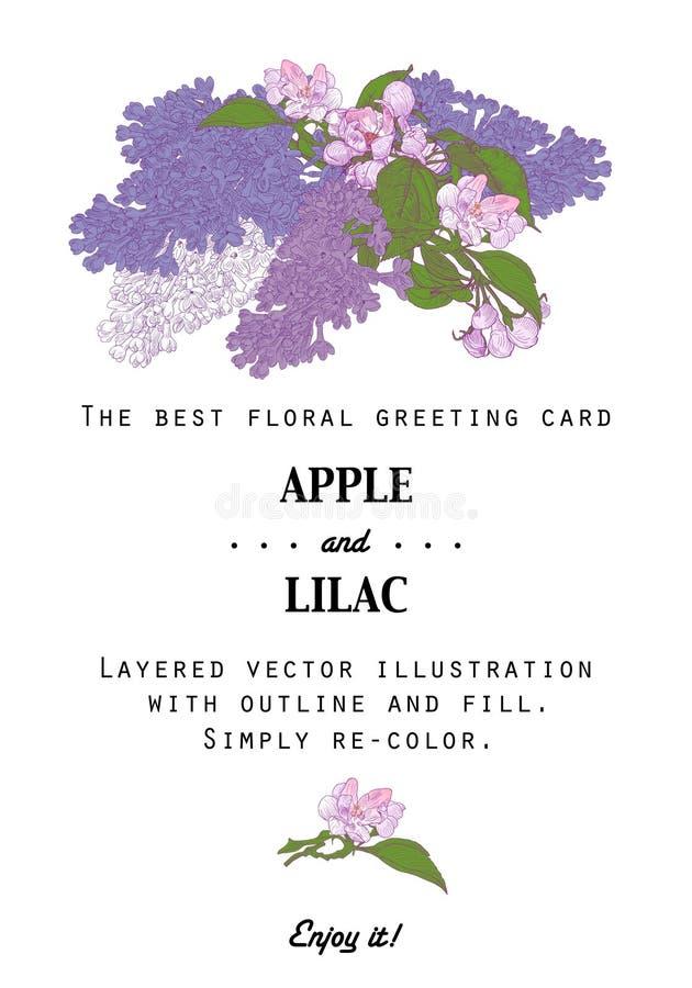 Rocznika Kwiecisty kartka z pozdrowieniami z jabłonią i ilustracja wektor