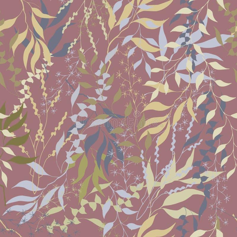 Rocznika kwiecisty tło z beżowymi liśćmi Burgundy tekstura dla tkanin i płytek ilustracji