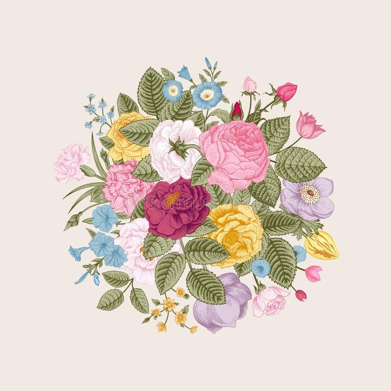 Rocznika kwiecisty wektorowy bukiet ilustracji
