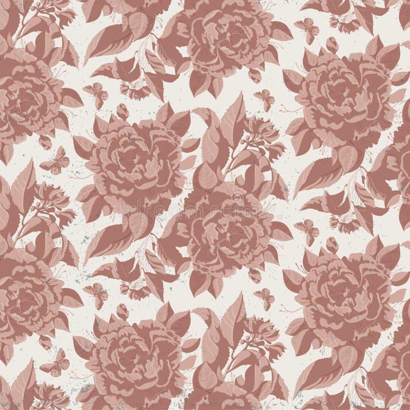 Rocznika kwiecisty wzór z różami ilustracji