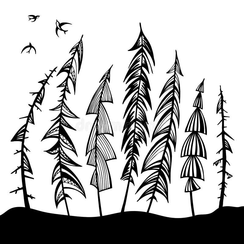 Rocznika lasu set. royalty ilustracja