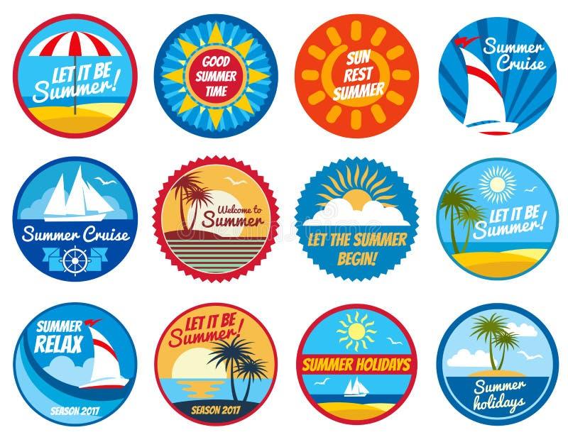 Rocznika lata etykietki Tropikalni wakacyjni wektorowi logowie z typografią royalty ilustracja