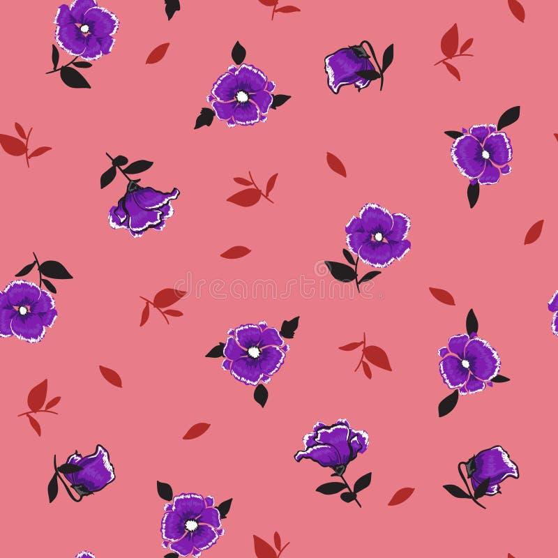 Rocznika lata retro purpury meandrują podmuchowego Kwiecistego wzór w ilustracji
