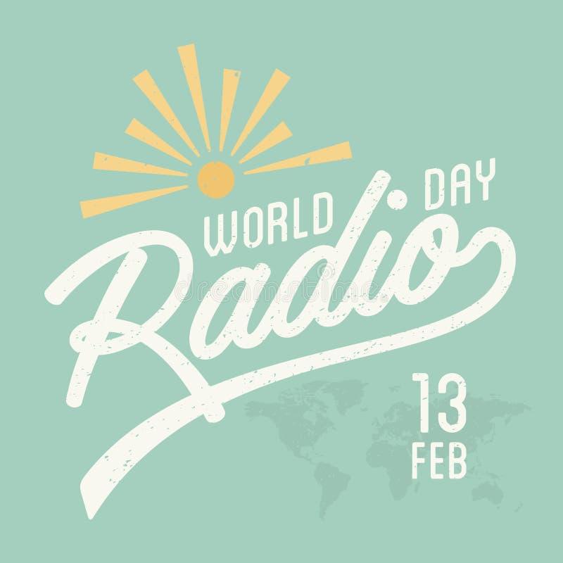 Rocznika listowy Światowy Radiowy dzień dla elementu projekta na zielonym tle ilustracja wektor