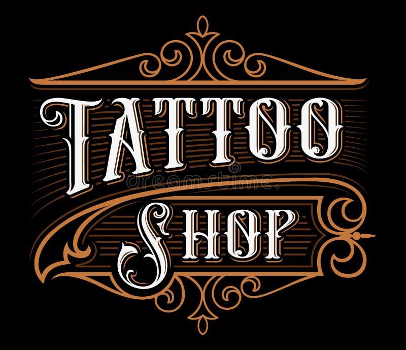 Rocznika literowanie tatuażu sklep royalty ilustracja