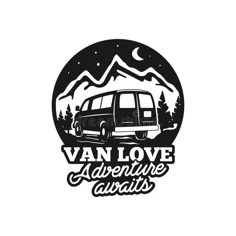 Rocznika loga ręka rysująca obozowa odznaka Van miłość - adenture oczekuje wycena Szczęśliwy obozowicz w góry pojęciu Doskonalić  royalty ilustracja