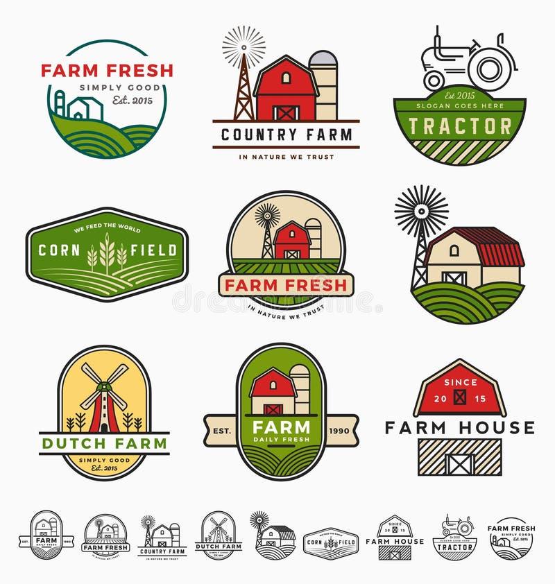 Rocznika loga szablonu nowożytny rolny projekt ilustracja wektor