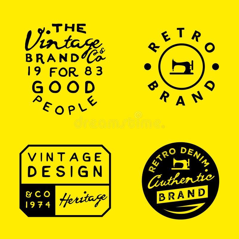 Rocznika loga szablony na żółtym tle Rocznika drelich, odzież, odzież projekty ilustracji