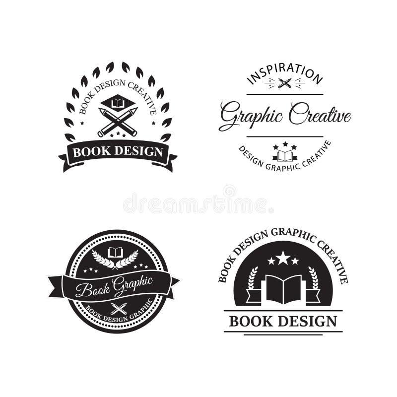 Rocznika logo desiain książkowego sklepu kreatywnie sklepu i retro stylowego logo emblemata szablonu wektorowy ilustracyjny proje ilustracja wektor
