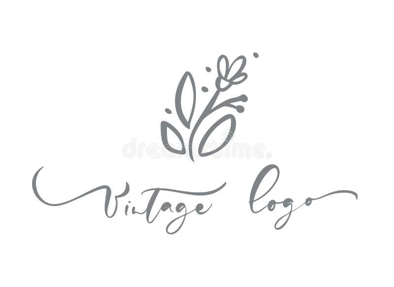 Rocznika logo kaligraficzny tekst Wektorowa modna scandinavian kwiecista ręka rysujący piękno, organicznie kosmetyki, kwiaciarnia royalty ilustracja