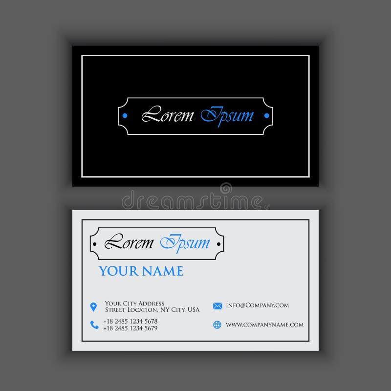 Rocznika luksus i Czysty wizytówka szablon z błękitnym czernią barwimy ilustracji