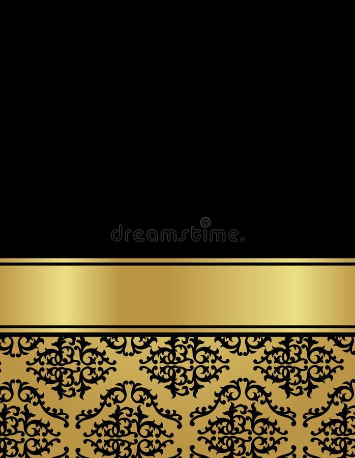 Rocznika luksusu karta z adamaszkowym bezszwowym wzorem royalty ilustracja
