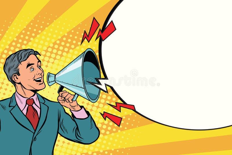 Rocznika mówca z megafonu krzyczeć royalty ilustracja